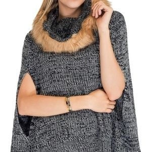 Fur Trimmed Poncho/Sweater Black Or Burgundy OSFA
